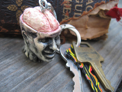 zombie head brains keychain