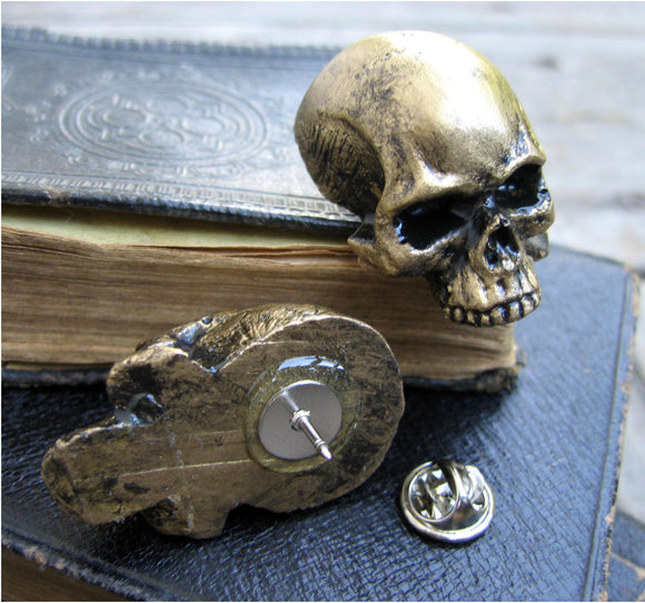 gold color skull pin