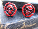 red skull cuff links