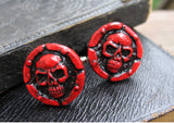 red color skull cuff links