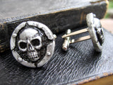silver color skull cuff links