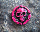 hot pink skull lapel pin