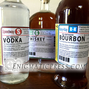 10 Large prescription liquor style, bottle labels, Vodka, bourbon, Whiskey, Gin and more, home printable
