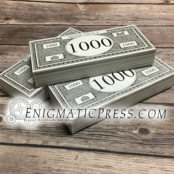 Stack of Monopoly Money gift box, Editable, printable, Fun DIY PDF digital download, Print, cut, fold, Done!