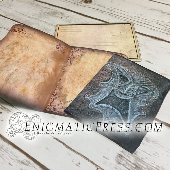 Book of the Damned, Evil Dead style, greeting card with envelope DIY home printable PDF, digital download