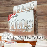 Pills! Cures what ails you! fake medication box, funny gift box, party favor, PDF file digital download, home printable