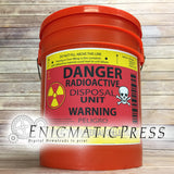 Radioactive Disposal Unit Gag Trash bucket label, 8.5x11 PDF, digital download, print at home
