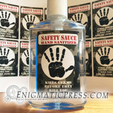 """Safety Sauce"", Hand sanitizer Labels, fits 8fl oz, 236 ml size bottles, fun digital download, home printable Be safe!"