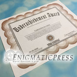 Underachievers Award with editable text, PDF digital download file Home printable, fun gag gift