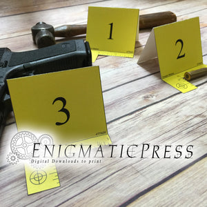 3 Editable Yellow Crime scene Evidence markers set DIY investigator props pdf digital download, home printable