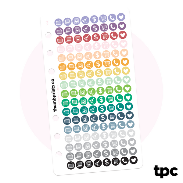 Tiny Multicolor Household Icons for Personal Planners