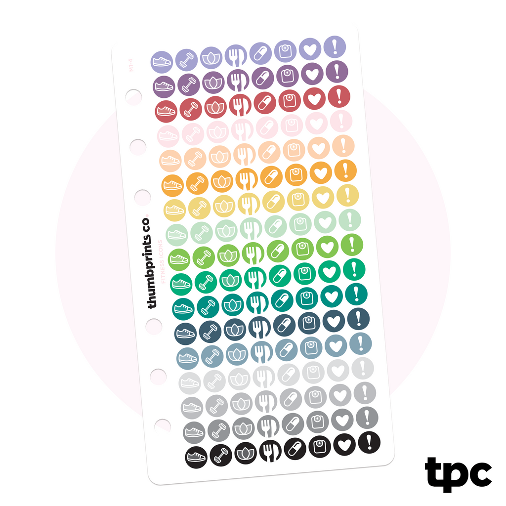 Tiny Multicolor Fitness Icons for Personal Planners