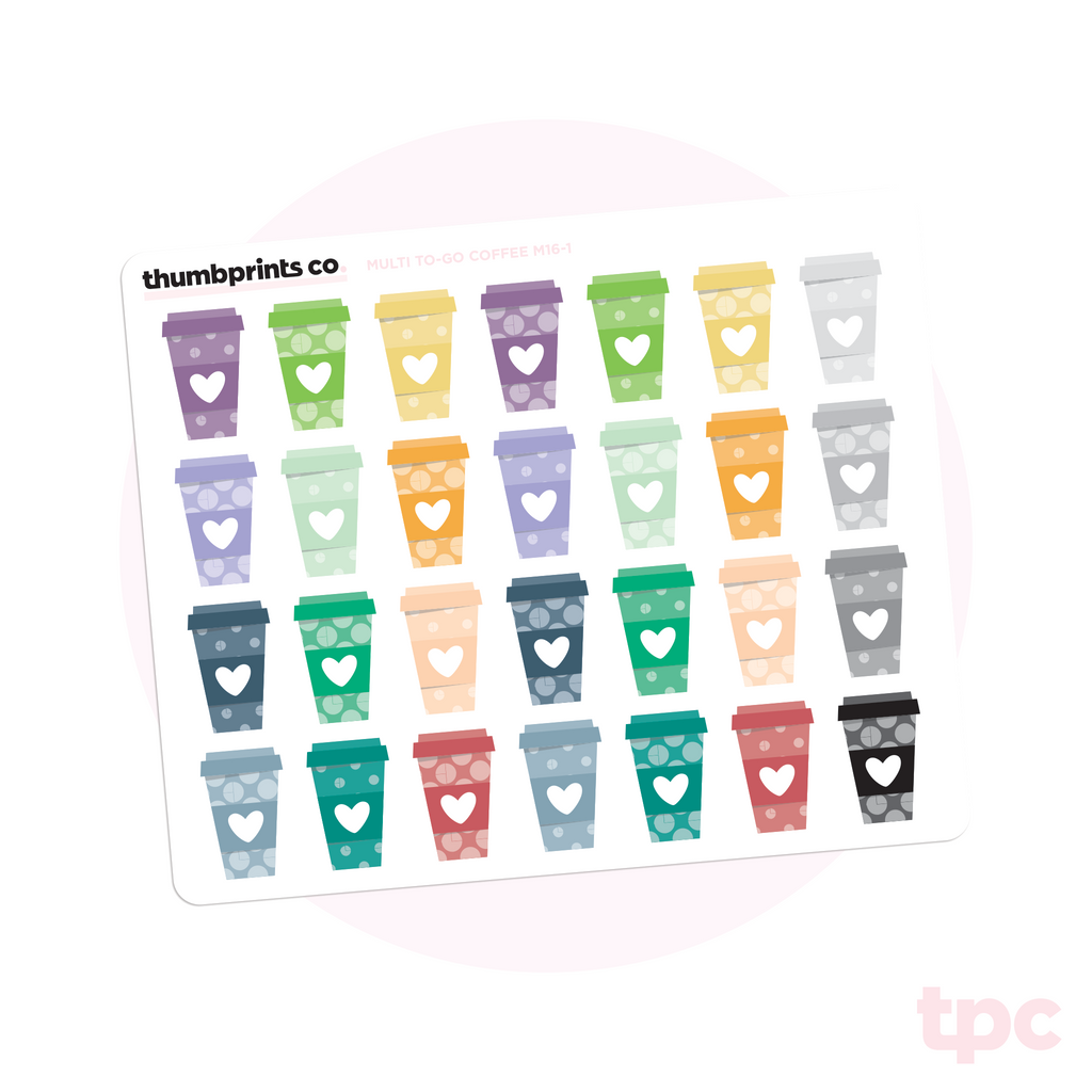 Multicolor To-Go Coffee Stickers