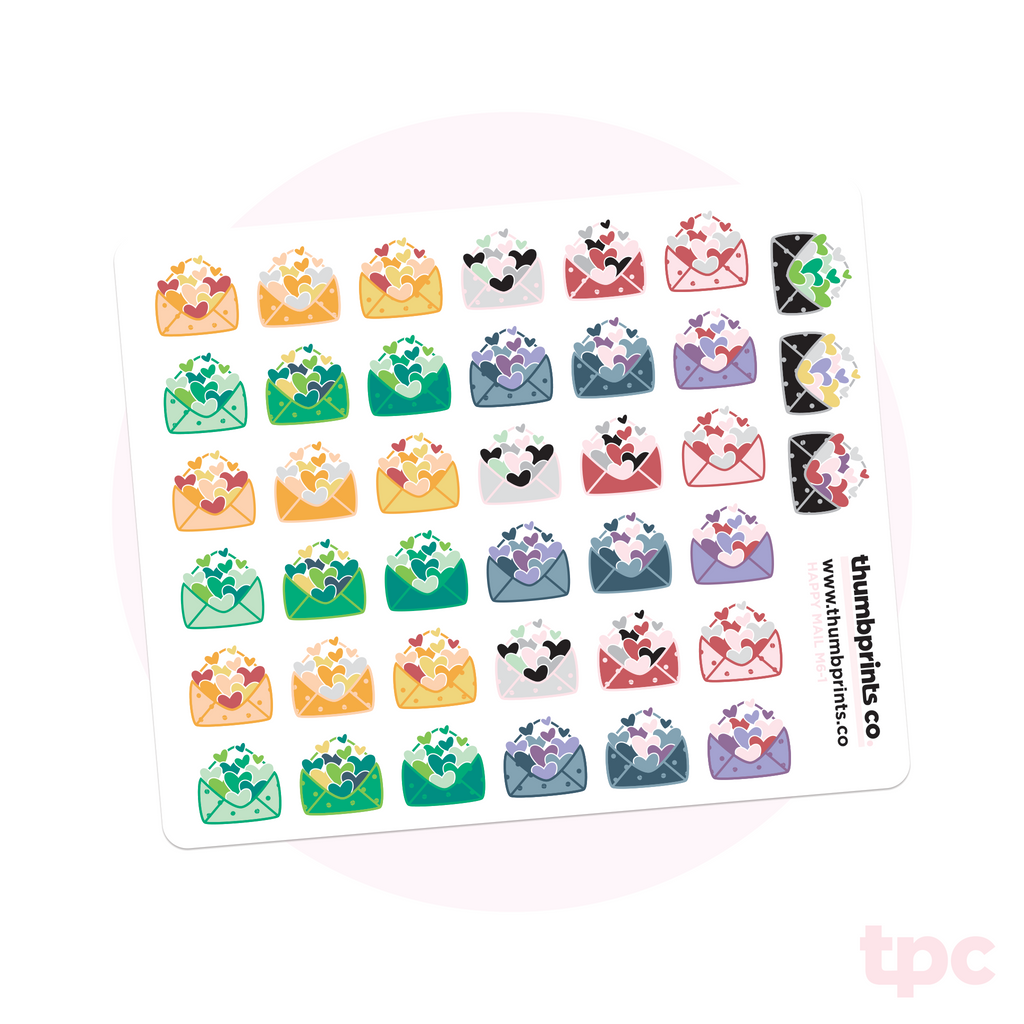 Multicolor Tiny Happy Mail Planner Stickers