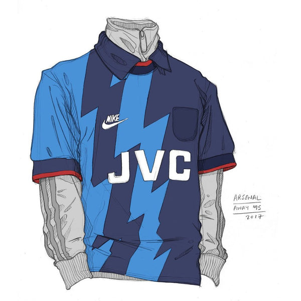90s Arsenal Nike Kit Sketches by Angelo Trofa