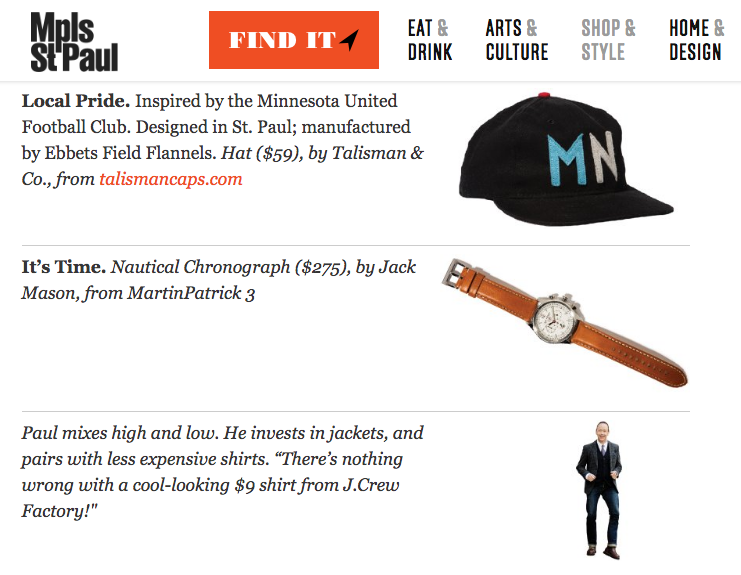 Talisman & Co. Loons Cap Sighting in Minneapolis-St. Paul Magazine