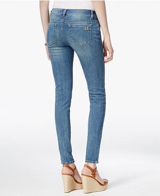 MICHAEL KORS DIstressed straight- leg  medium wash Jeans