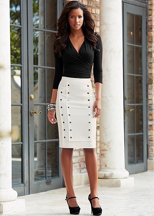(A) Tuxedo  Skirt With Snap Detail