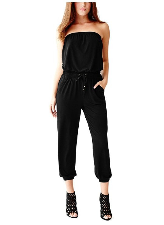 A. Guess Black Strapless jumpsuit/ Woman's designer clothing