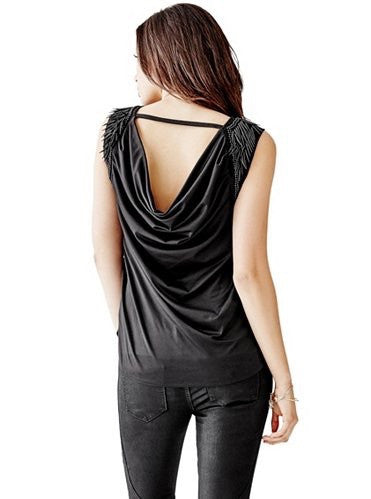 GUESS ENCRUSTED DRAPE BACK SLEEVE-LESS TOP