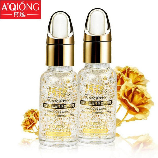 20ML Aqiong 24k Pure Gold Foil Essence Serum Face Lift Anti-Aging Anti-redness Whitening Moisturizing Oil Control Face Cream - NAKEHOUSE