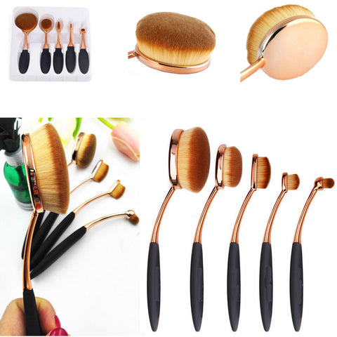 6Pcs  Fish Scale Fish Shaped Powder Foundation Eyeshadow Lip Brush
