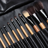 NAKEHOUSE-15 pcs Soft Synthetic Hair Makeup Brush Black Sets with Leather Case,Multiple brushes