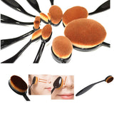 NAKEHOUSE-10 PCS Oval Makeup Brush Set Black Toothbrush Shape,Multiple brushes