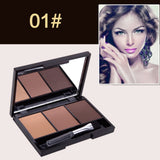 NAKEHOUSE-3 Colour EYEBROW Powder/Shadow Palette Enhancer w/ Ended brush,eye shadow