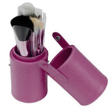 NAKEHOUSE-Leather Travel Cosmetic Brushr Storage Cup Holder,Multiple brushes