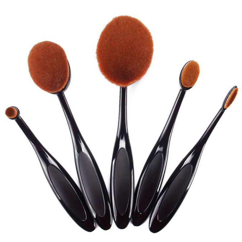 NAKEHOUSE-5 Pcs Oval Shape Toothbrush Makeup Brushes Black without Box,Multiple brushes