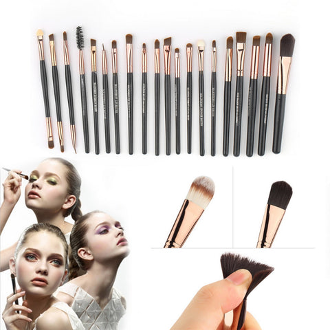 15 pcs Soft Synthetic Hair Makeup Brush Black Sets with Leather Case