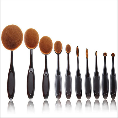 10 Pcs Rose Gold and Black Toothbrush Shape Makeup Oval  Brush set w/wo Box