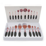 NAKEHOUSE-10 Pcs Rose Gold and Black Toothbrush Shape Makeup Oval  Brush set w/wo Box,Multiple brushes