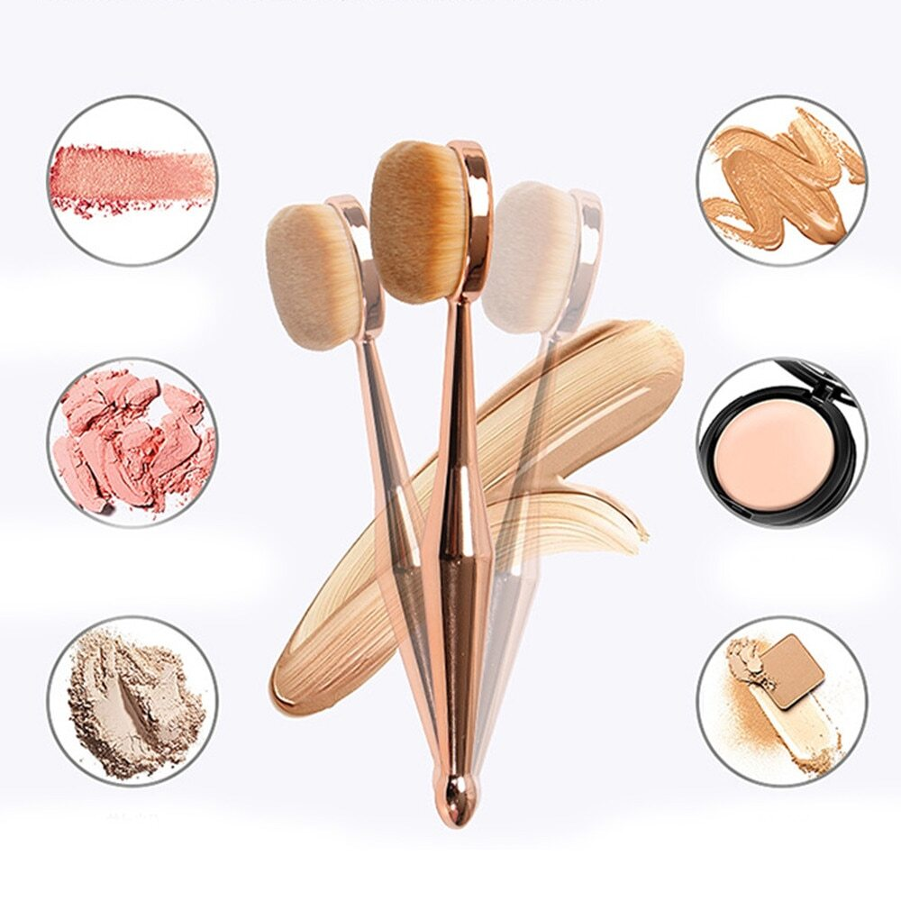 Women's Professional RoseGold Foundation Oval Makeup Brush Single piece