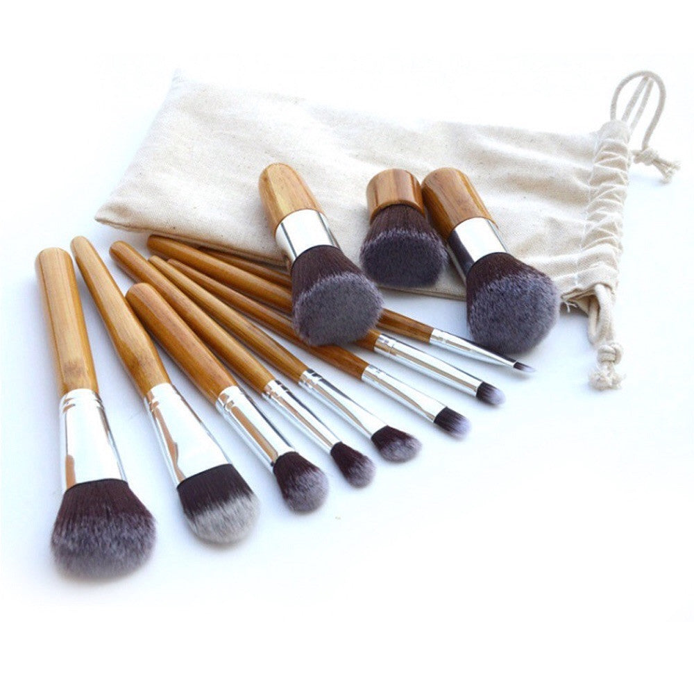 NAKEHOUSE-11Pcs Bamboo Handle  Makeup Brushes,Multiple brushes
