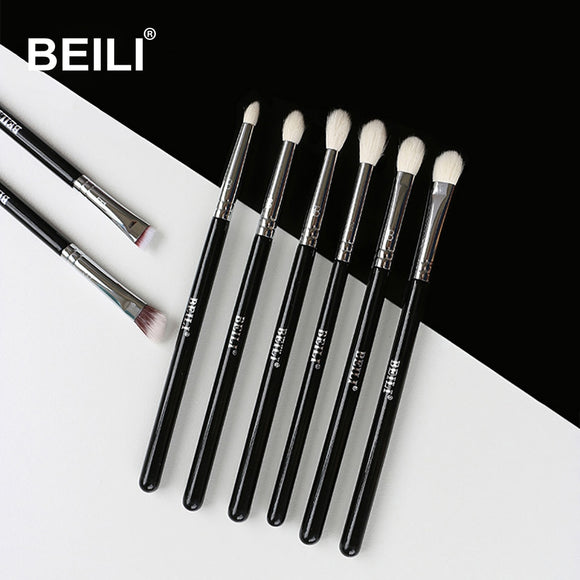 BEILI 8pcs Classic Black Pro makeup brushes Brow Blending smoky Makeup Brush Set