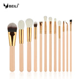 BEILI Pink 12pcs Rose Golden Premium Foundation Powder Highlighter Concealer Makeup Brush Set
