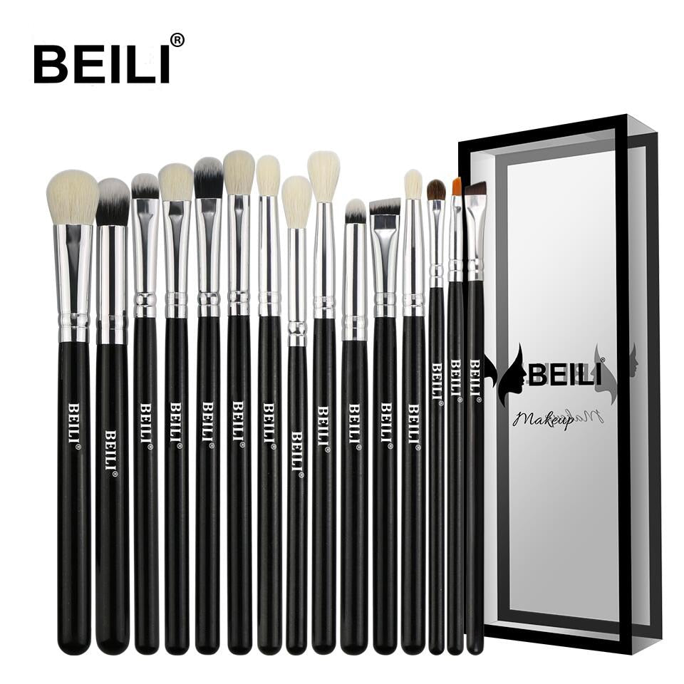 BEILI Black 15Pcs s Natural Goat Pony hair and synthetic Makeup brush set