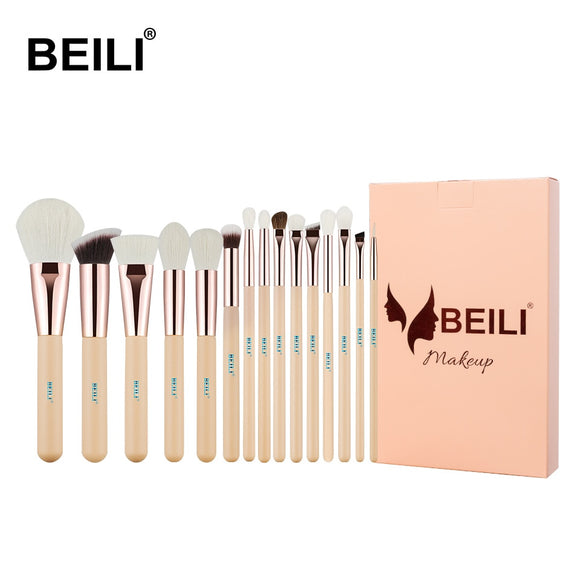 BEILI 15Pcs Pink Rose Gold Makeup brushes Foundation Blending Powder Professional set