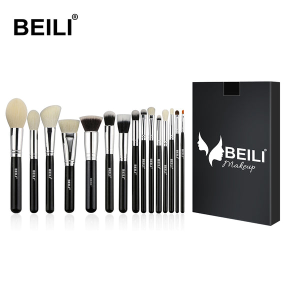 BEILI 15pcs Black Premium makeup brush set big Powder foundation blusher eye shadow Contour