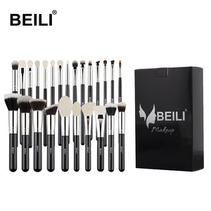 BEILI 25 pcs  Black Professional Makeup Brushes set Foundation Concealer Eye shadow Blending Cosmetic