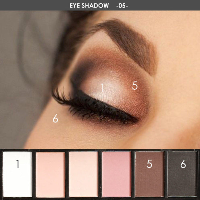 NAKEHOUSE-6 Colors Glamorous Smokey Eye Shadow Shimmer Colors Makeup Kit,