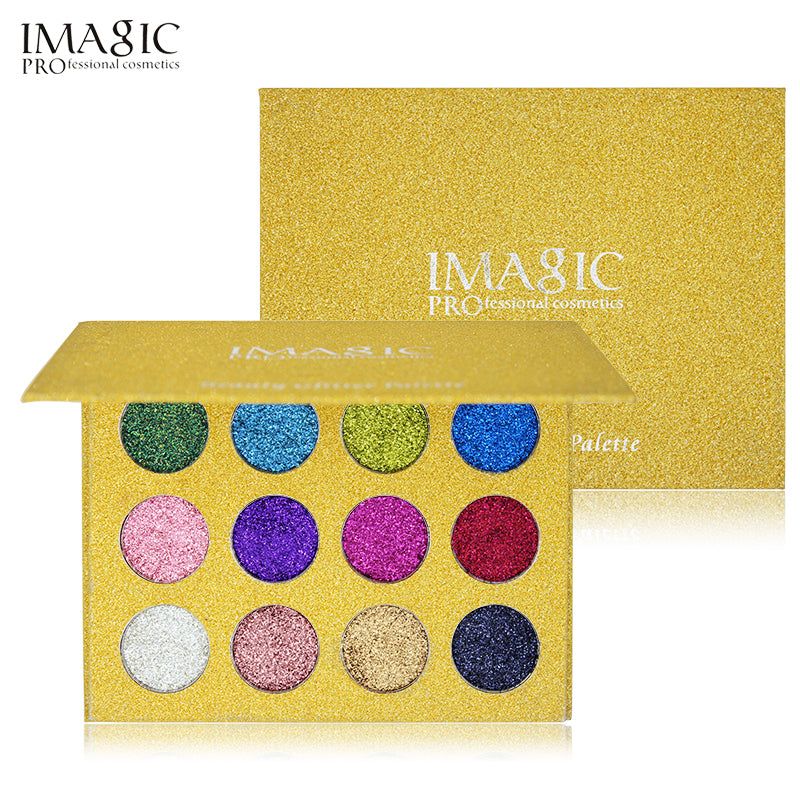 Beauty Essentials 1set 12 Color Diamond Glitter Eyeshadow Palette Gold Shine Eyeshadow Glitter Shiny Eyeshadow Blue Eye Shadows Cosmetics Tool Eye Shadow