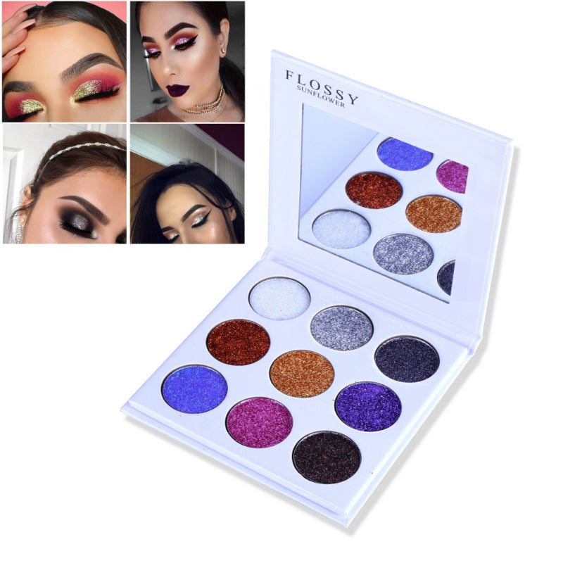 NAKEHOUSE-FLOSSY SUNFLOWER 9 Color Glitter Shimmer Eyeshadow Palette,Eye shadow