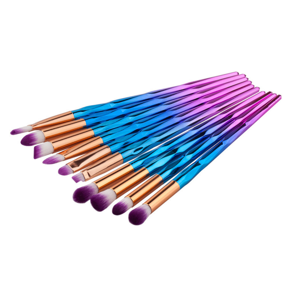 NAKEHOUSE-10pcs Rhinestone Rainbow Tools Pro Powder Foundation Eye Lip Concealer Face colrful Brush Kit,Multiple brushes