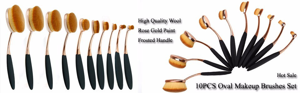 Oval Brush Set Rose Gold and Black