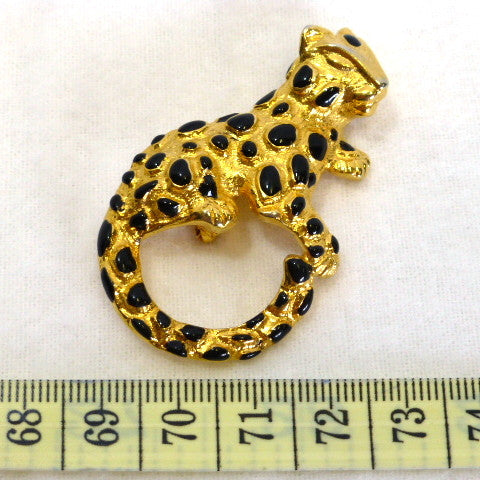 Gold Cheetah Enamel Brooch