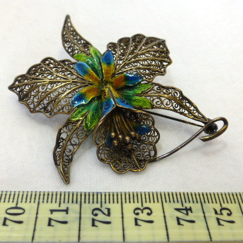 Filigree and Enamel Orchard Brooch