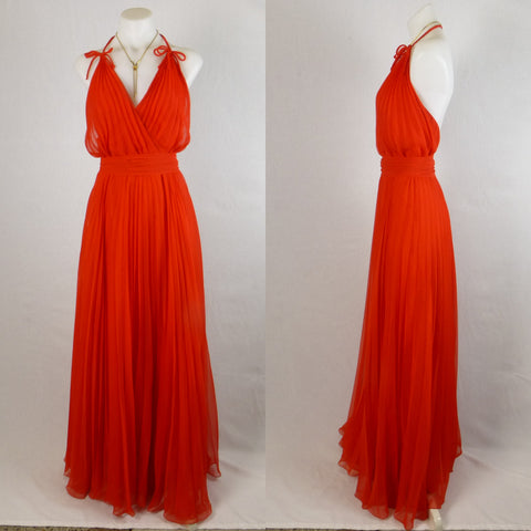 Susan Peters Red Pleated Gown. Size 8